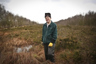 Philip stands in a bog