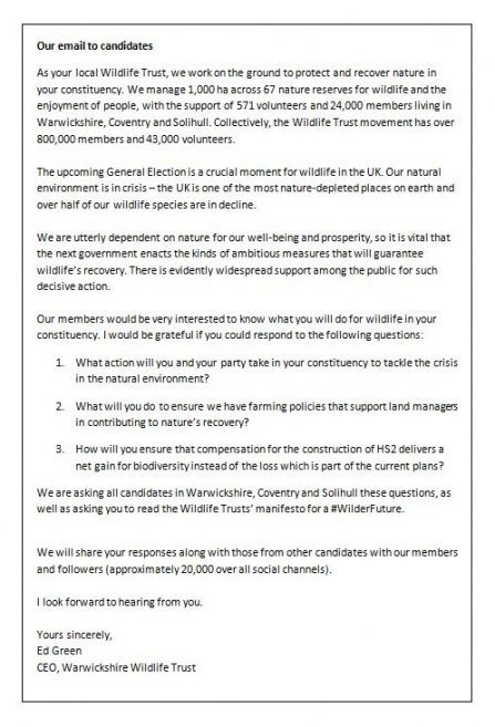 Our letter to Prospective Parliamentary Candidates